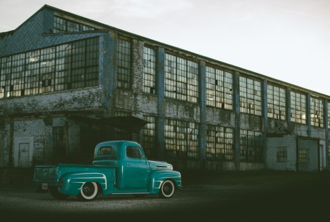 1949 Ford F1 truck high school senior girl