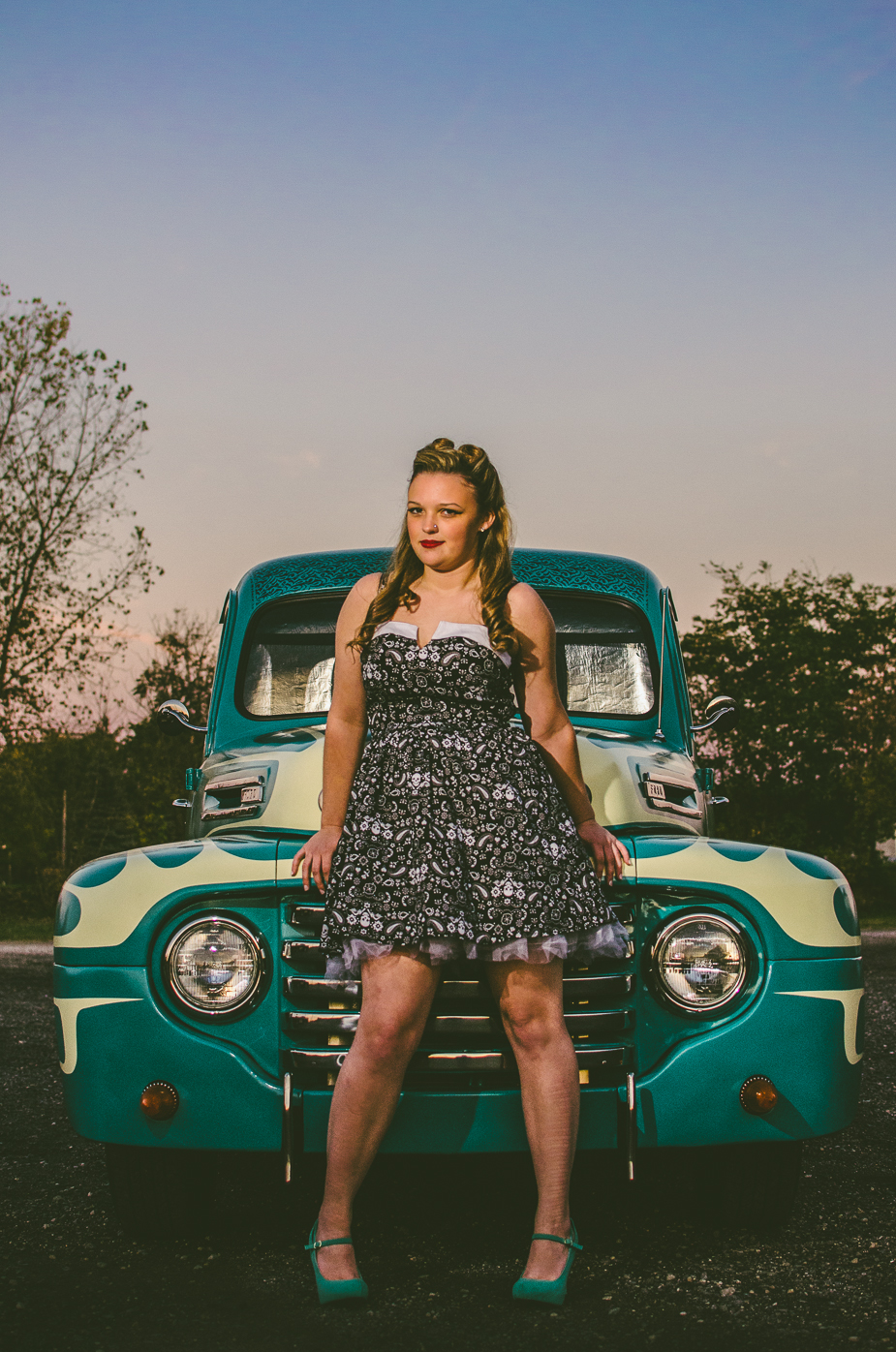Taylor pinup model High School senior 1949 Ford Truck